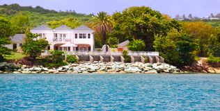 Luxury waterfront estate on Antigua Royalty Free Stock Images