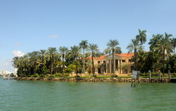 Luxury waterfront home. Exclusive luxury real estate in waterfront Miami Beach, Florida Royalty Free Stock Photos