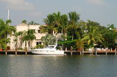 Luxury waterfront home Stock Photo