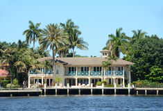 Luxury waterfront home in Florida Stock Images