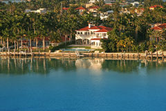 Luxury waterfront house. S among palms Royalty Free Stock Photos