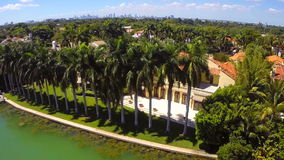 Luxury waterfront mansion in Miami stock video footage