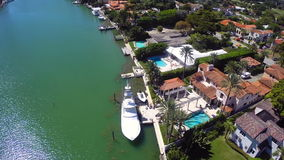 Luxury waterfront mansions in Miami aerial video Stock Images