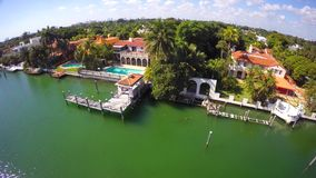 Luxury waterfront mansions in Miami Beach. Aerial video of luxury waterfront estate in Miami Beach Florida