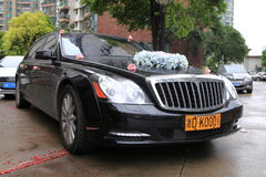 Luxury wedding black car Stock Images