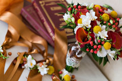 Luxury Wedding bouquet. The concept of marriage and love. accessories for just married ceremony close-up. Fresh flowers Stock Images