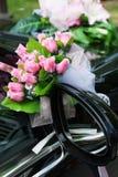 Luxury wedding car with flowers Royalty Free Stock Photos