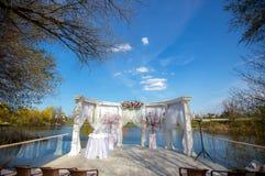 Luxury wedding ceremony summer outdoor. Luxury wedding ceremony decoration summer outdoor Stock Photo
