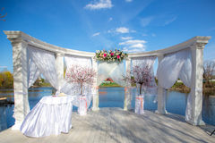 Luxury wedding ceremony summer outdoor Royalty Free Stock Photo