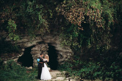 Luxury wedding couple hugging and kissing on the background gorgeous plants and cave near ancient castle Stock Image