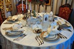 Wedding reception table arrangement Royalty Free Stock Photography