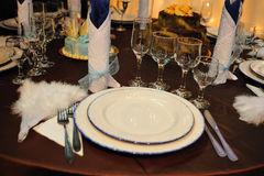 Luxury wedding dinner reception table Royalty Free Stock Photography