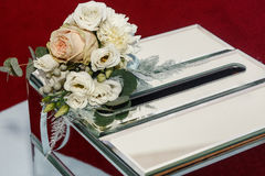 Luxury wedding gift box with roses and expensive golden decor ar Stock Photos