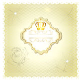 Luxury wedding invitation card for design in beige and white col Royalty Free Stock Photography