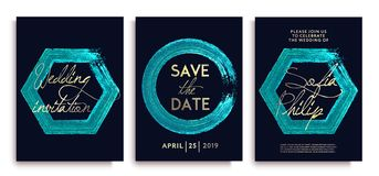 Luxury wedding invitation cards with blue gold glitter frames and letterings; Luxury wedding invitation frame set. stock illustration