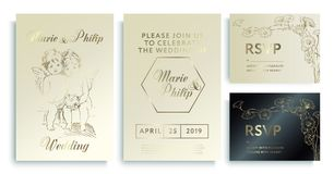 Luxury wedding invitation cards with gold texture. Luxury wedding invitation frame set;. Angels, flowers, leaves isolated on gold, white, black backgroundn royalty free illustration