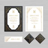 Luxury wedding invitation or greeting card with geometric ornament. Art Deco style. Paper envelope template. Wedding invitation e. Nvelope mock-up for laser royalty free illustration