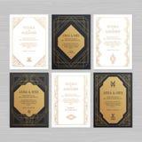 Luxury wedding invitation or greeting card with geometric ornament. Art Deco style. Vector illustration. royalty free illustration