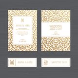 Luxury wedding invitation or greeting card with vintage gold ornament. Vector illustration. royalty free illustration