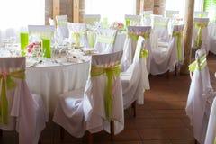 Luxury wedding lunch table setting Stock Photos