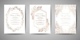 Luxury Wedding Save the Date, Invitation Cards Collection with Gold Foil Flowers and Leaves and Wreath trendy cover. Luxury Wedding Save the Date, Invitation vector illustration