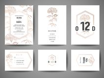 Luxury Wedding Save the Date, Invitation Cards Collection with Gold Foil flowers and Monogram Logo design template vector illustration
