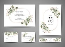 Luxury Wedding Save the Date, Invitation Cards Collection with Gold Foil Leaves and Wreath. trendy cover, graphic poster. Luxury Wedding Save the Date vector illustration
