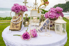 Luxury Wedding setting on the beach Royalty Free Stock Image