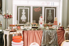 Luxury wedding table with the sweet assortie Royalty Free Stock Photo