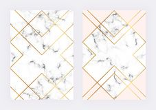 Luxury wedding templates with marble geometric design with polygonal golden lines. Modern backgrond for invitation, wedding stock illustration