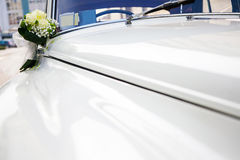 Wedding Car. Luxury wedding white car decorated with flowers Stock Photo