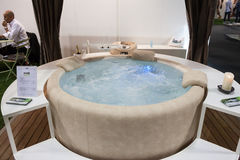 Luxury whirlpool bath at Macef home show in Milan Stock Images