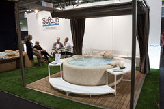 Luxury whirlpool bath at Macef home show in Milan Stock Photo