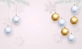 Luxury white background template golden decoration for Christmas, New Year Stock Photo