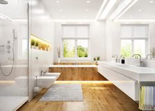 Luxury white bathroom in modern house. Luxury white bathroom in modern large house royalty free stock photography