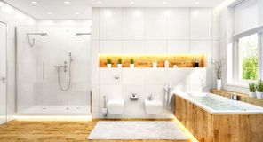 Luxury white bathroom in modern house. Luxury white bathroom in modern large house royalty free stock images