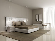 Luxury white bedroom with buttoned bed Royalty Free Stock Photography