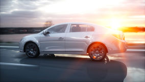 Luxury white car on highway, road. Very fast driving. Wonderfull sunset. Travel and motivation concept. 3d rendering. Stock Image