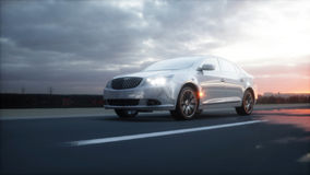 Luxury white car on highway, road. Very fast driving. Wonderfull sunset. Travel and motivation concept. 3d rendering. Stock Photos