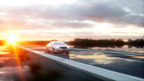 Luxury white car on highway, road. Very fast driving. Wonderfull sunset. Travel and motivation concept. 3d rendering. Stock Images