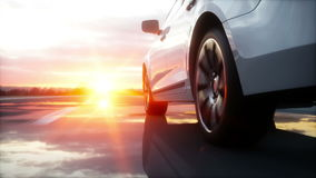 Luxury white car on highway, road. Very fast driving. Wonderfull sunset. Travel and motivation concept. Realistic 4k