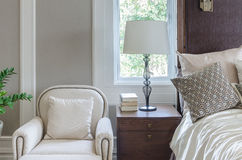 Luxury white chair in classic bedroom design Royalty Free Stock Photo
