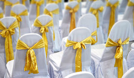 Luxury white Chair  and Gold bow tie in The gala Royalty Free Stock Image