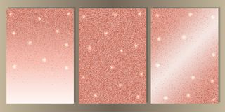 Luxury White Cover Set with Shiny Glitter. Pink gold glitter on white background cover set. Luxury abstract A4 template for brochures, banners, greeting cards royalty free illustration