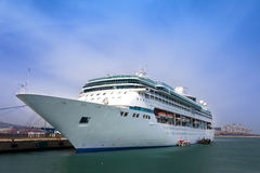 Luxury white cruise ship. Luxury giant white cruise ship / summer travel Royalty Free Stock Photography