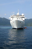 Luxury white cruise ship. With water on a clear day with calm seas Royalty Free Stock Photos