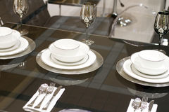 Luxury White Designer Dining Set Royalty Free Stock Photo