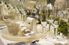 Luxury white dining table Royalty Free Stock Image