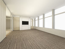 Luxury White Empty room, 3D Rendering Meeting Room, Interior des. Ign illustration Stock Image