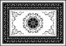 Luxury white frame with black oval ornament in the center of spiral stripes and black border with white  pattern. Vintage white frame with black oval ornament in stock illustration